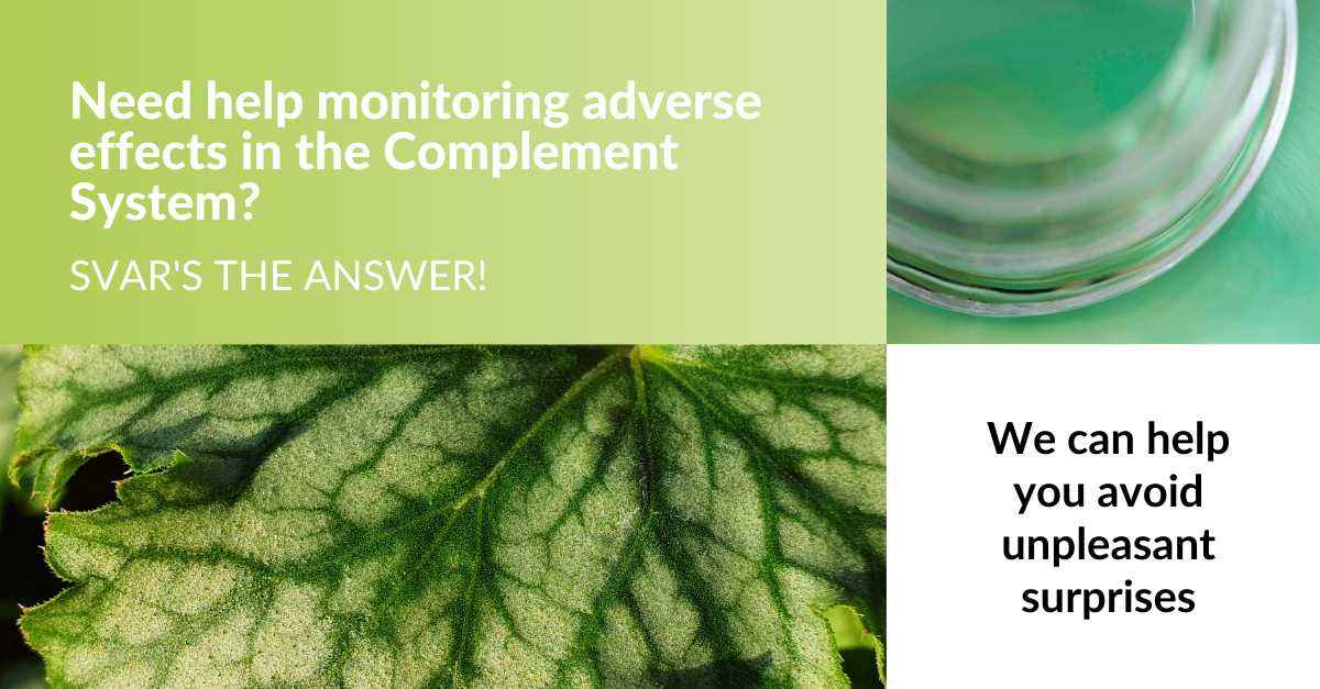 Monitoring adverse effects in the complement system
